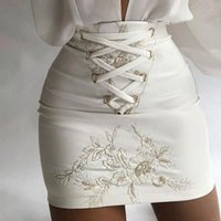 Skirts Fashion Women Floral Embroidery Eyelet Lace-up Skirt