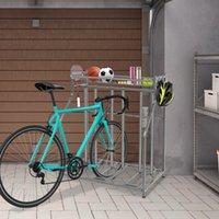 와코 자전거 스탠드 랙, 3 개의 자전거 층 주차장 저장, 산, 하이브리드, 키즈 자전거, 실내 야외 스포츠 스테이션을위한 3 폭 조정 가능한 슬롯