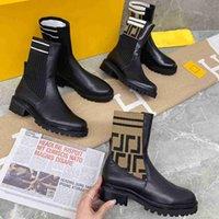 Donne Rockoko Boots Designer Combat Caviglia Martin Boot Brand Pelle Mobili Bicicletta Maglia Stretch Stretch Tessuto Scarpe Piattaforma Winter Platform Winter-Top Stivaletti con scatola