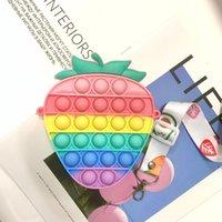 EE. UU. De Stock Favor de Firste Fidget Toys Monedas Monedero Pulsado Colorido Burbuja Sensor Squishy Estrievo Autismo Autismo Autismo Autismo Anti-Stress Rainbow Juguete Adulto Pequeñas bolsas