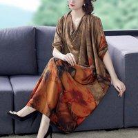 الملابس العرقية جزر آسيا والمحيط الهادئ أنيقة الكورية نمط طويل الأكمام اللباس تصميم فضفاض ماددرن هانبوك الأزياء تظهر ثوب الإناث