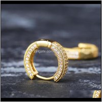 & Hie Drop Delivery 2021 Hip Hop Gold Jewelry Fashion Mens Hoop Womens Sier Iced Out Bling Earrings Kefmz