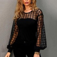 Women's Blouses & Shirts Elegant Mesh Long Sleeve Transparent Blouse Women Office Lady Tunic Casual Loose Solid Color Blusas