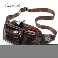 CONTACT'S Genuine Leather Men Waist Pack Multifunction Small Crossbody Bag Travel Fanny Casual Chest Bags for Male 210918