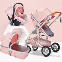 Cochecitos # Pink and Grey Baby Stroller 2 en 3 1 High Landscape Strollers Eco Cuero Amortizador de Cuero de Cuatro Ruedas Trolley Jersey