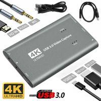 Cartão de captura de vídeo USB 3.0 de alta velocidade 4K HDMI-compatível Caixa de gravação ao vivo com cabo Tipo-C