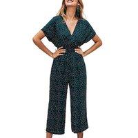 IMCUTE Moda Pequeño Puntos Pequeños Pantalones Impresos Mono Verano Oriental Casual Wrap en V Cuello de manga corta Cintura Alta Cintura Larga Pantalones de Romper de Mujeres Rom