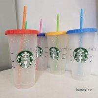 24OZ 710ml Starbucks Snow Plastic Tumbler Reusable Clear Drinking Flat Bottom Cup Pillar Shape Lid Straw Mug Bardian
