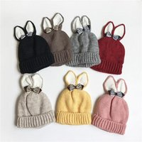 Beanies 2021 Cute Winter Warm Thick Hat With Ears Children Beanie Bowknot Fashion High Quality Knitted