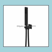 Bathroom Heads Faucets, Showers As Home & Garden Square Handheld Shower Head Pvc Hose Connector Adjustable Wall Holder Matte Black Finish Bl
