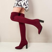 Boots Square High Heel Pointed Toe Women Over The Knee Slip On Winter Shoes Stretch Flock All Match Size 34-43