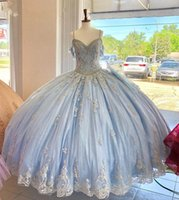 Light Blue Ball Gown Party Dress Exquisite Beaded Appliques V-neck With Straps Tulle Quinceanera Dresses 2021