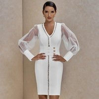 Casual Dresses HF Long Sleeve Bandage Dress White Autumn Winter Elegant Celebrity Evening Party Club V-Neck Sexy Vestidos
