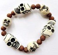 Skull Carving Men's Beaded Strands Bracelet limitation Yak Bone Material Art Vintage Jewelry