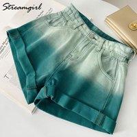 Pantaloncini da donna Streamgirl Denim Denim 2021 Donne Estate Pantaloni corti Vita alta A Linea Geanelli rosa per verde