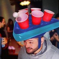 Poolzubehör 6-Loch-Tasse Halterkappe Aufblasbare Hut Floating für Schwimmen Pong Rack Party Supplies Biergetränk Lagerorganisation