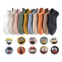 10 Pairs Spring Women's Ankle Socks Kawaii Cartoon Smile Face Embroidery Summer Funny Expression Cute Cotton Female Short