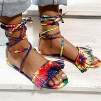 Bohemia Yaz Kadın Sandalet Etnik Tarzı Püsküller Bayanlar Ayak Bileği Çizmeler Sandal Ayakkabı Roma Saçak Gladyatör Düz Pembe Terlik