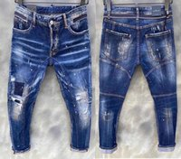 منتجات مخفضة ماركة إيطاليا رجل جينز السراويل الرجال سليم الدينيم السراويل زر الأزرق حفرة قلم للرجال