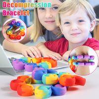 Fidget Bracelet Reliver Stress Pop Toys Rainbow Bubble Antistress Toy Adult Children Sensory Bracelet lace Relieve Autism