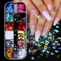 Stickers à ongles de luxe à la mode Décoré avec 12 ongles de papillon fluorescent au laser de 12 couleurs Décoration de décoration MJ30