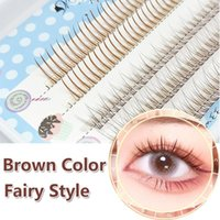 False Eyelashes Brown Individual Mix Fairy A Shape Fish Tail Eyelash Extension Pre-fan Volume Soft Cluster Natural Looking
