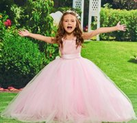 Coming Simple Design Pink Tulle Flower Girl Dress with Ribbon Keyhole Back Ankle Lenght Girls Pageant Gowns Sleeveless