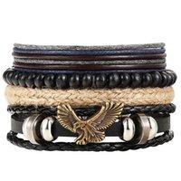De luxe designer bijoux mode 1 Set 4 pcs hibou cuir homme multicouche perle femme punk aigle bracelet bracelet bijoux accessoires pulseira