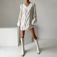 Women's Sweaters Croysier winter women's clothing oversized mesh cable pullover v neck long sleeve mini sweater cozy casual jumper YTGT