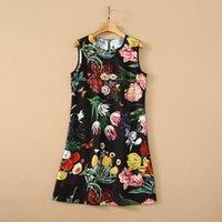2021 Fall Autumn Luxury Sleeveless Dress Black Floral Print Round Neck Beaded Sequins Short Mini Dresses G28210609