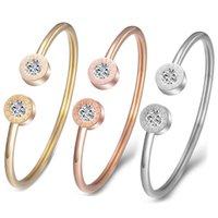 Bangle Titanium Steel Roman Numeral C-shaped Diamond BRACELET Jewelry Women's Stainless With Opening Adjustment