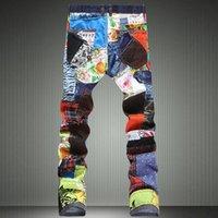 Jean erkek kişiliği patchwork eklenmiş yırtık denim kot erkek moda ince renkli yama düğmeleri düz pantolon
