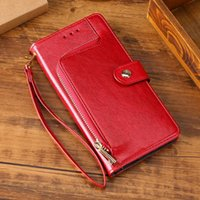 Zipper Case for Galaxy S5 S6 S7 Edge S8 S9 S10 Plus Lite Note 4 5 8 9 10 M10 20 Plånbok Kort Slots Flip Leather Cover Cell Phone Fodral