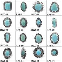 سوليتير الدائري خمر الفضة الحلقات الفيروز الطبيعية النساء والرجال الفيروز ring160style 9105