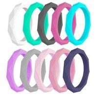 Wielokrotne kolory Rombus Silikonowy Obrączka Ślubna dla Kobiet Stackable Guma Cienki Pierścień sportowy 3mm Rozmiar 4-10