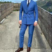 Blue Men Suits Peaked Lapel Double Breasted Formal Business Suits Blazer Jacket Men Tuxedos Groom Wedding Suits 2 Piece Coat+Pant