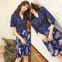 2021 디자이너 여성의 PG DVF 여름 한국 패션 슬림 중간 긴 패치 워크 슬리브 여성을위한 드레스 주위 랩