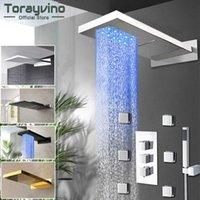 Torayvino LED 강수량 폭포 욕실 샤워 수도꼭지 온도 디지털 디스플레이 화면 3 제어 밸브 믹서 워터 탭 X0705