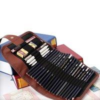 Artisti Caso a matita 24 fori Rotolo Pennello Penna Sacchetto per Artisti Studenti Retro Canvas Makeup Office Borsa per ufficio Scuola Borsa