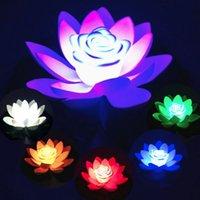18cm / 7.08cm 인공 연꽃 모양의 다채로운 바깥쪽으로 꽃 램프 물 수영장 배터리 포함 빛