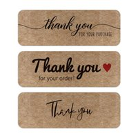 Greeting Cards 120PCS Roll Thank You For Your Order Stickers Business Handmade Labels Kraft Paper Decals Envelope Sealing Package DIY Decor