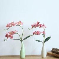 인공 나비 난초 꽃 가짜 나방 꽃 집 웨딩 DIY 장식 진짜 터치 장식 장식 화환