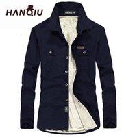 Мужские повседневные рубашки Hanqiu зимние теплые мужчины длинные Mouw Herfst Jas Flanellen толстые юрки мода качества флисовая рубашка