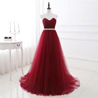 Claret Abendkleider lange Bridal Prom Kleider der Schatzschärpe in der Taille Lace-up