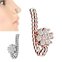 Alisouy Copper Crystal Leaf Flower Cross False Nose Ring Earring Fake Septum Ring Studs Women Ear Clip Non Body Piercing Jewelry 1885 Q2