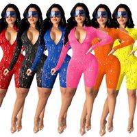 Массовые женские с длинным рукавом комбинезоны Rampers Sexy Hole One Piece Шорты Мода BodyCon Skinny Paysuit Pullover Удобный клуб Носить Женские Одежда KLW6470