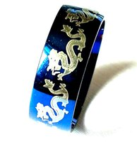 30pcs Blue 316L Stainless Steel Dragon Ring Vintage Mens Cool Fashion Quality Jerwelry Wholesale Brand New Rings