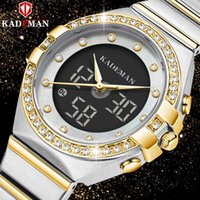 Relógios de pulso feminino casual kademan duplo movimento lcd exposição à prova d 'água banda de aço relógio k9079ljr22