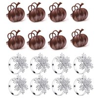 Napkin Rings 16 Pieces Ring Holders Set Pumpkin Snowflake For Thanksgiving Halloween Christmas Dinner Party