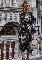 Puff Sleeve Women Dresses Autumn Winter Floral Dress Bow Stand Collar High Wasit Long Plus Size